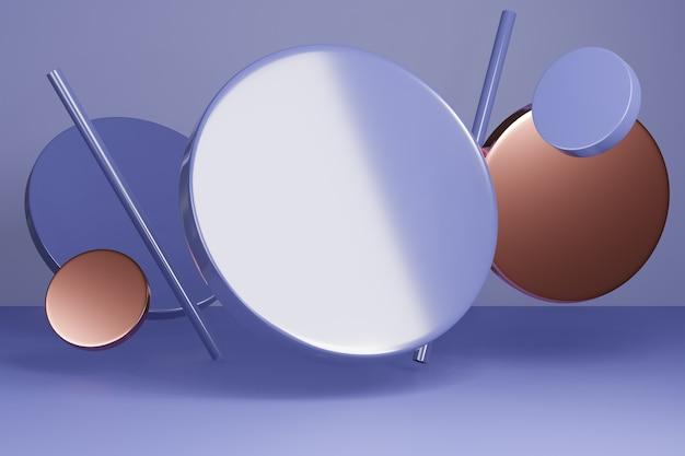 円の形の装飾が施された、製品プレゼンテーション用の3dレンダリングスタジオモックアップ背景