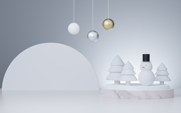 3d rendered studio mock up christmas background for product presentation