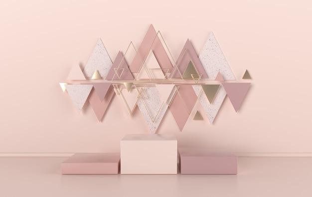 3d rendered studio with geometric shapes, podium on the floor