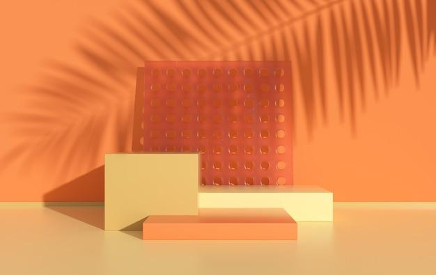3d визуализированная студия с геометрическими фигурами, подиум на полу