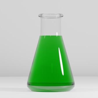 3d 렌더링 된 테스트 튜브, 녹색 액체와 실험실 플라스크