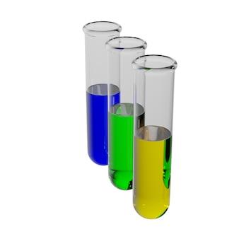 3dレンダリングされた試験管、緑色の液体が入ったフラスコ