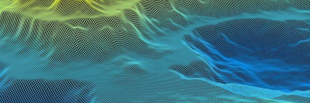 3dレンダリングされた地形グリッドワイヤーフレーム。グラデーションアイランド。