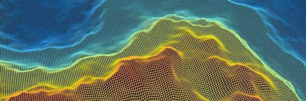 3d 렌더링 지형 그리드 와이어 프레임. 그라데이션 섬.