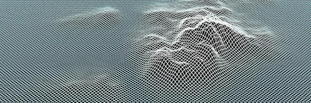 Каркас топографической сетки с 3d-рендерингом. ледяной остров.