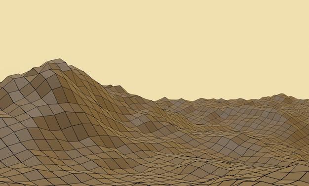 3d визуализированная топографическая горная сетка. многоугольная местность.