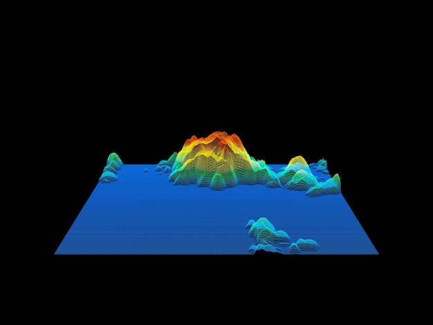 Каркас топографической горной сетки с 3d-рендерингом. сетка местности.