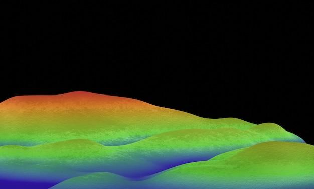 3d 렌더링 지형 산. 고도 색상을 파란색에서 빨간색으로 표시합니다.