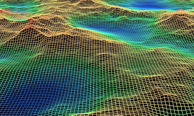 3d 렌더링 지형 와이어 프레임. 색상 레벨 맵.