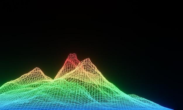3d 렌더링 된 지형 와이어 프레임