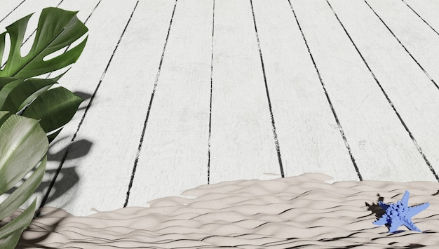 3d rendered wallpaper of plants in the foreground with a surface of white painted wooden floor and beach sand