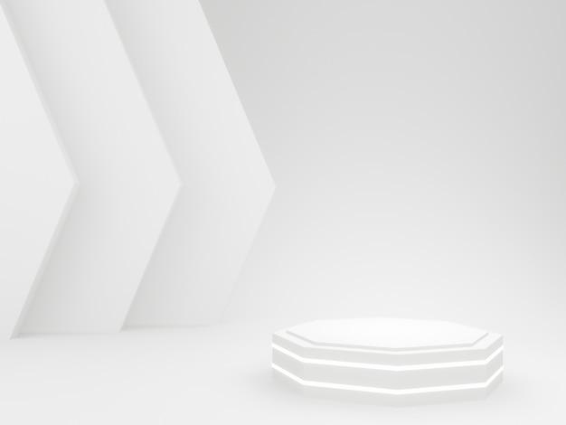 3d rendered white decagon podium.