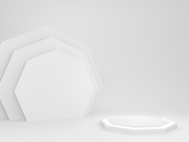 3d rendered white decagon podium. Premium Photo