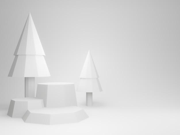 3dレンダリングされた白い森の表彰台