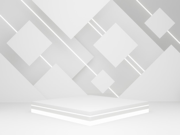 3d rendered white geometric product stand with neon light.