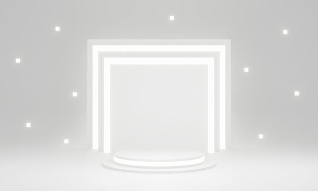 3dレンダリングされた白い幾何学的なステージ表彰台