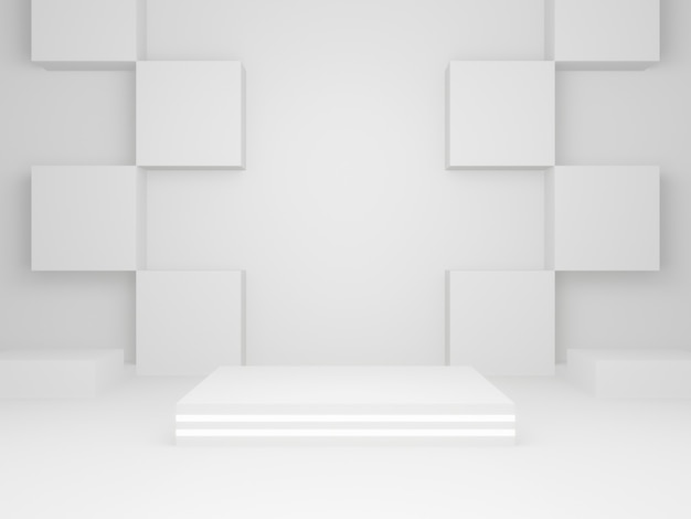 3d rendered white geometric stage