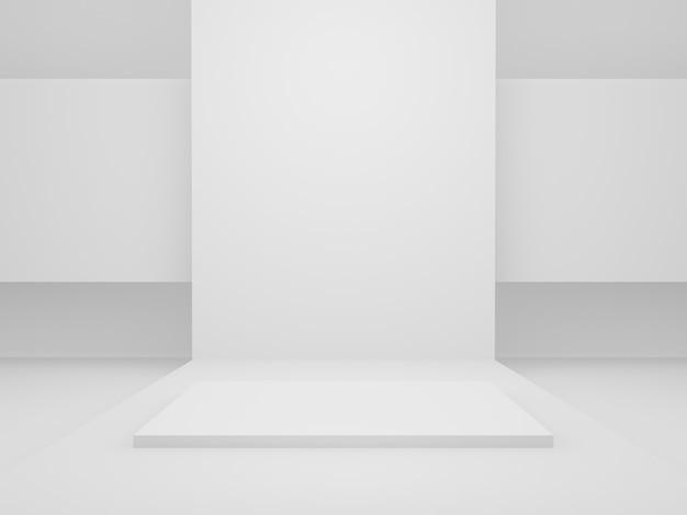 3dレンダリングされた白い幾何学的ステージ