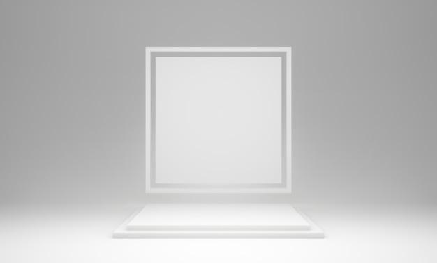 3d 렌더링 흰색 기하학적 단계