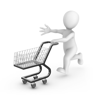 3d rendered white man with a shopping cart