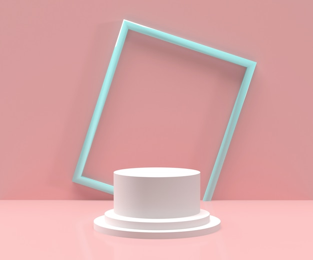 3d визуализации - белый подиум с синей рамкой и розовым фоном для отображения продуктов