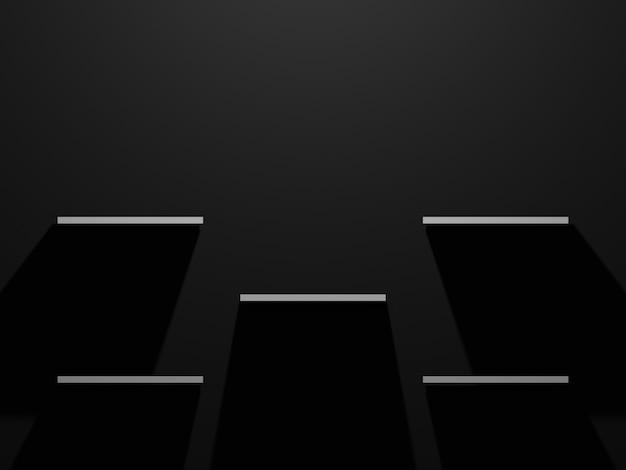 黒の背景に3dレンダリングされた白い製品棚