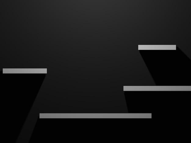 3d визуализация белая полка продукта на черном фоне
