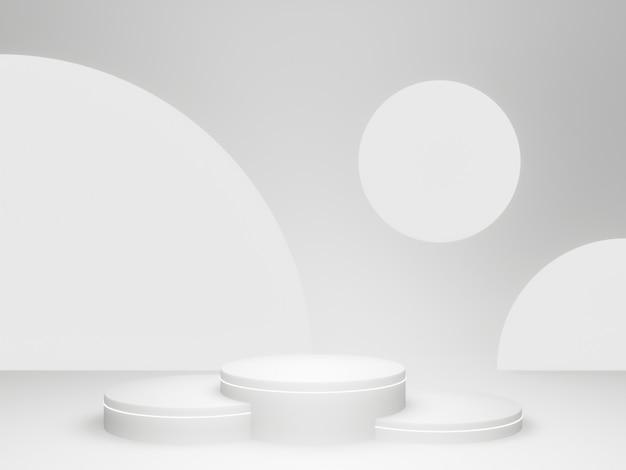 3d rendered white rounded podium.