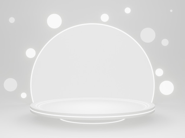 3d rendered white rounded product stand.