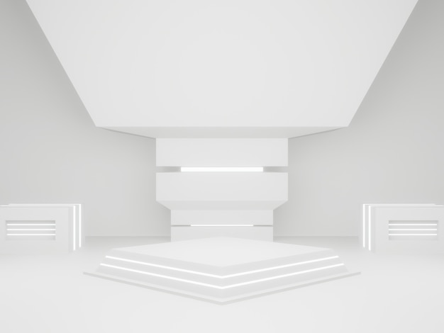 3d 렌더링된 흰색 과학 제품 스탠드입니다. 흰색 배경.