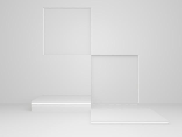 3d 렌더링된 흰색 과학 제품 스탠드입니다. 흰 바탕.