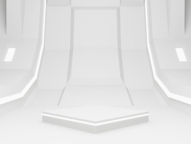 3dレンダリングされた白い宇宙船の部屋のステージ。未来的な背景。