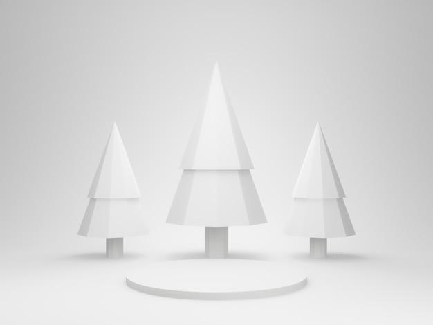 3dレンダリングされた白いステージの表彰台と木々。
