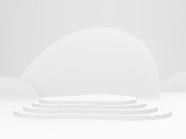 3d 렌더링 흰색 무대 연단