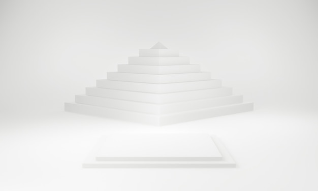 3d rendered white stage with pyramid