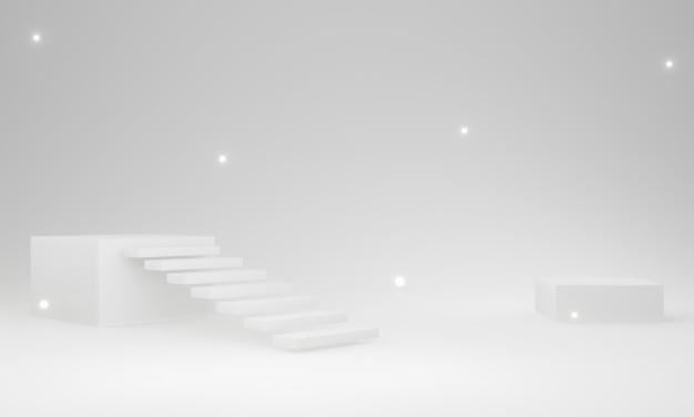 3d 렌더링 흰색 계단 무대