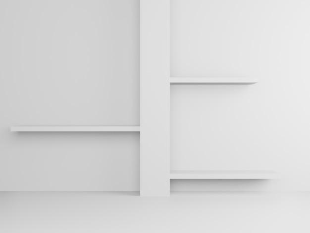 3dレンダリングされた白いスタンドと棚