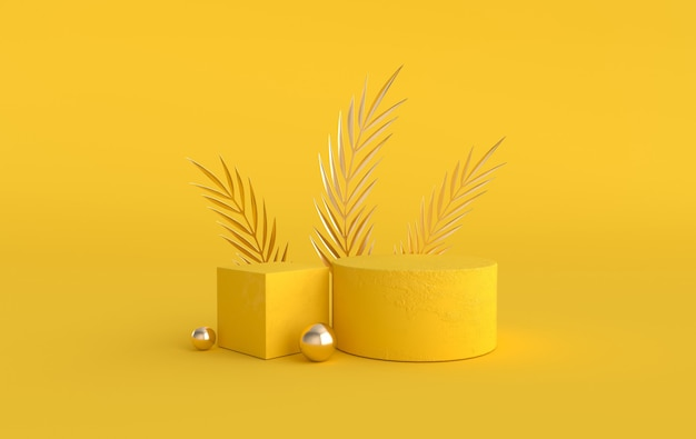 3d rendered  with geometric shapes, podium on the floor