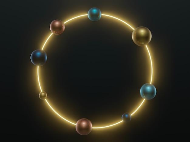金属球で3dレンダリングされた黄色の円ネオンリングフレーム