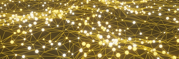 3d rendered yellow data network. abstract grid background.