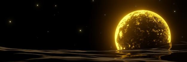 3d 렌더링 노란색 달과 물. 밤 배경입니다.