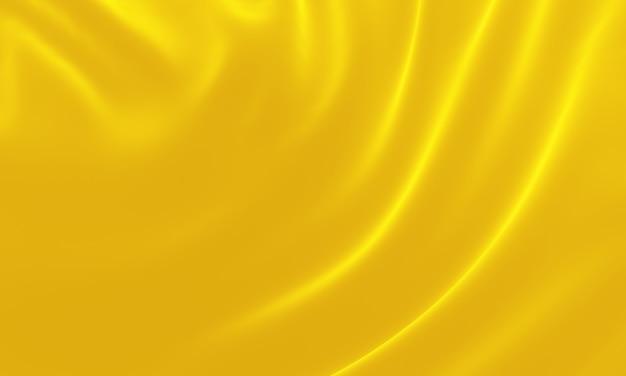 3d 렌더링된 노란색 파문 천입니다. 추상 파 배경입니다.