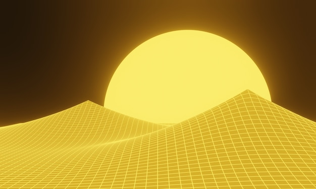 3d rendered yellow topographic mountain grid.