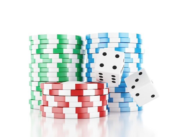 3d renderer illustration. dice and chips. casino concept, isolated white background.