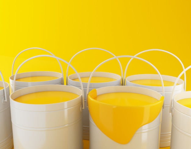 3d renderer illustration. full paint buckets on yellow background.