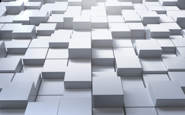 3d renderer white cube abstract background