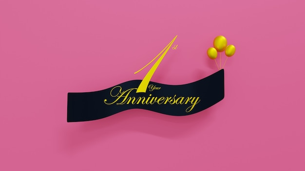 3d rendering 1st year anniversary card  background with font text and soft gold balloons 3d render illustration