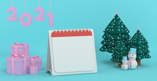 3d rendering 2021 image of blank calendar paper for next year goal decorate with christmas ornament scenes