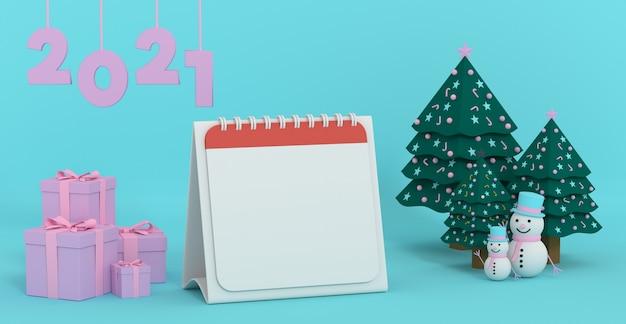 3d-рендеринг 2021 года изображение чистого календаря на следующий год, украшение сцен с рождественским орнаментом
