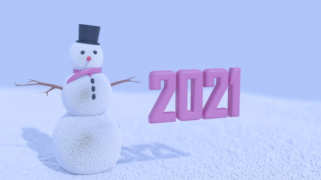3d rendering of 2021 and a snowman premium photo